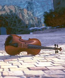 Violin on pavement